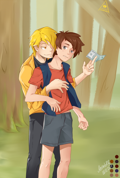 Dipper Pines and human! Bill Cipher